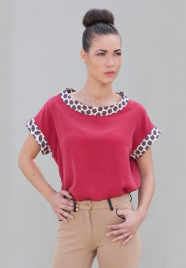Red Silk Blouse with Short sleeve
