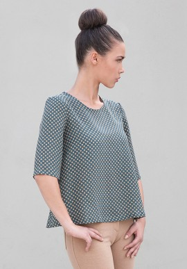 Silk Pois Blouse with Short sleeve