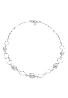 "Silver Necklace with pearls ""Luna"""