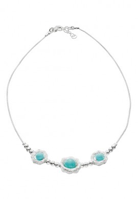 "Silver Necklace with stones ""Capri"""