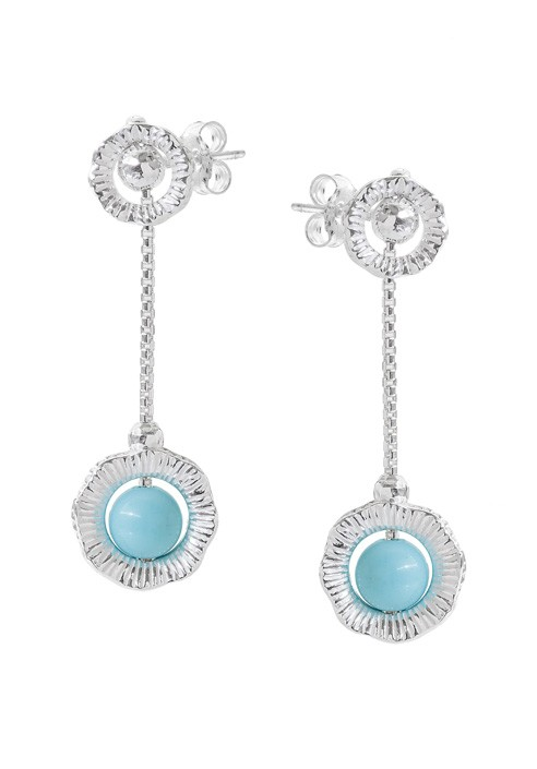 "Silver Earrings with stones ""Capri"""