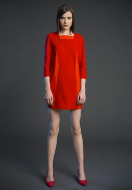 Short sleeve shift dress with geometric inserts orang