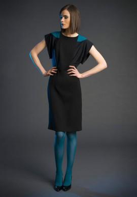 Mini dress in pure wool black