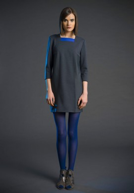Short sleeve shift dress with geometric inserts