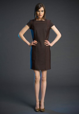 Short sleeve shift dress brown