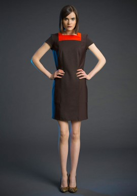 Short sleeve shift dress brown/orange