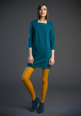 Short sleeve shift dress with geometric inserts teal