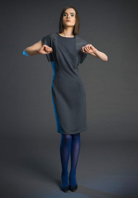 Mini dress in pure wool grey