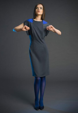 Mini dress in pure wool grey and violet