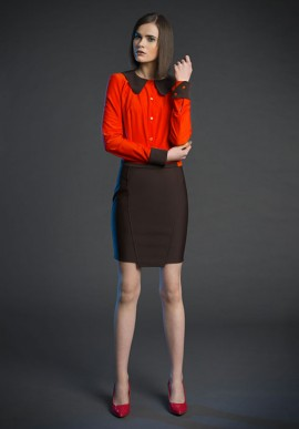 skirt above the knee brown