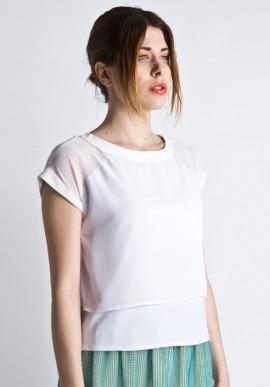 T-shirt bianca in chiffon