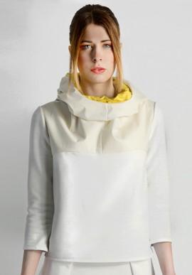 Felpa cappuccio bianca/gialla