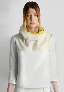 Hooded sweat shirt white/yellow