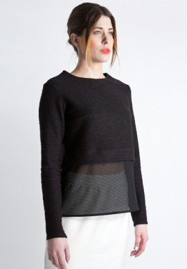 Sweatshirt with black net