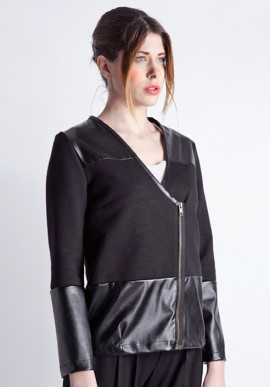 Black faux leather jacket sweatshirt