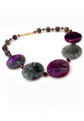 "Necklace inagate ""Purple"""