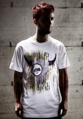 BUFFALOSKULL t-shirt bianca con stampa
