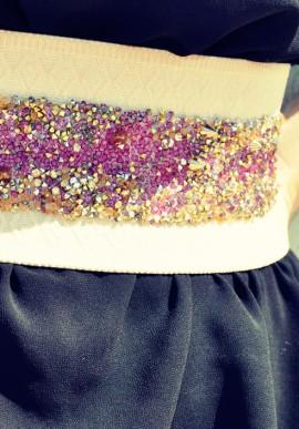 Cintura cristalli fucsia oro e gialli