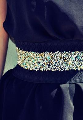 Cintura con cristalli oro argento e celesti