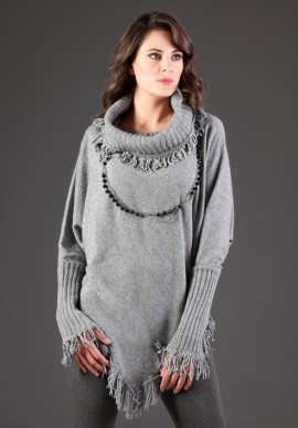 Knit cashmere fringed
