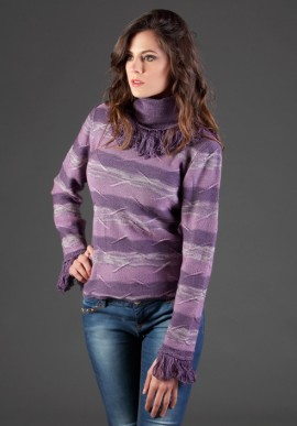 Striped shirt with cowl neck