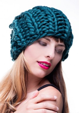 Trendy hand-knitted hat