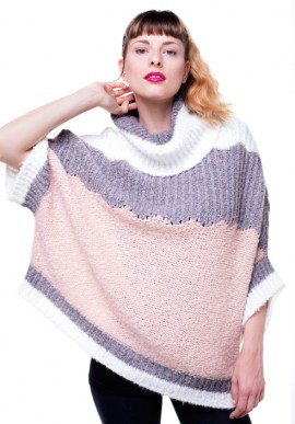 Poncho fine raised yarn