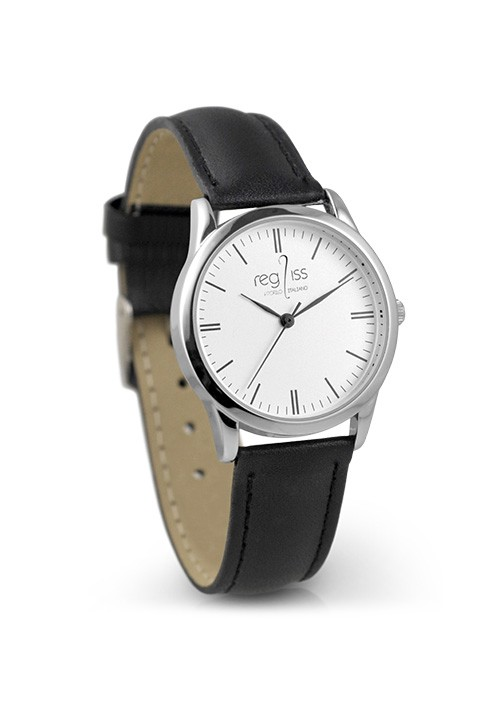 Metal woman watch Lucia with leather strap