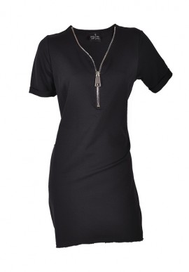 V-neck woman dress, central zip