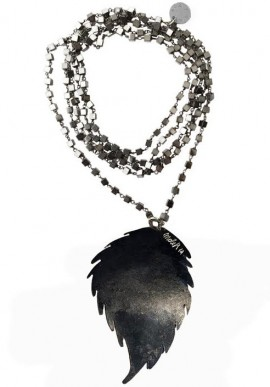 Necklace black pyrite