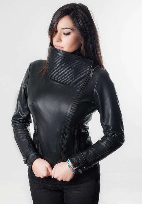 giacca vera pelle nera donna