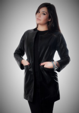 "Black leather coat ""Verona"""