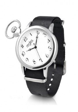 Metal man watch Renzo with leather strap