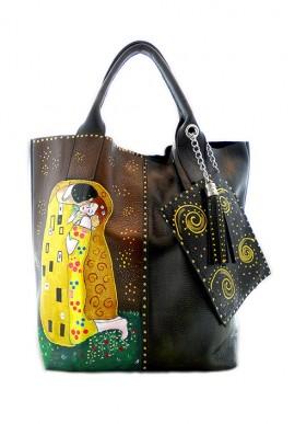 """Borsa Nera """" Il bacio"""" di Klimt"""