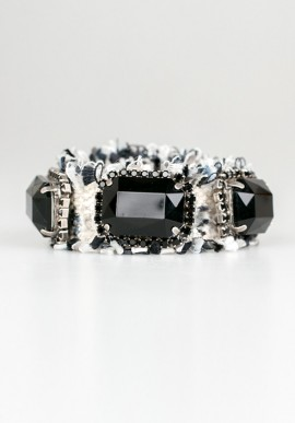 "Bracelet ""Hippie Chic"" with blacks crystals"