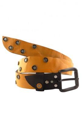 Cintura in pelle colore giallo