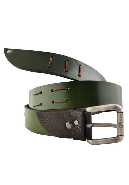 enorme sconto 83265 bb91b Cintura in pelle verde oliva