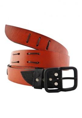Cintura in pelle rosso scuro