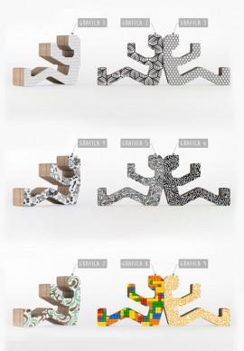 Portaoggetti in cartone ondulato stampato